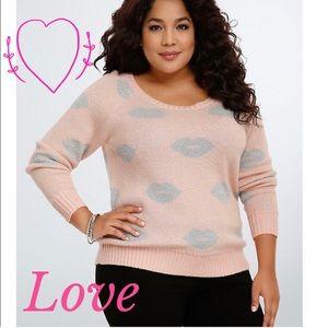 Torrid Lip Print Lurex pink sweater Valentines Day